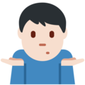 Man Shrugging: Light Skin Tone on Twitter Twemoji 2.3
