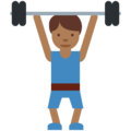 Man Lifting Weights: Medium-Dark Skin Tone on Twitter Twemoji 2.3