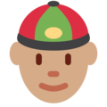 Man With Chinese Cap: Medium Skin Tone on Twitter Twemoji 2.3