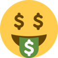 Money-Mouth Face on Twitter Twemoji 2.3