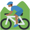 Person Mountain Biking: Medium-Dark Skin Tone on Twitter Twemoji 2.3