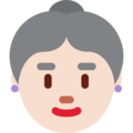 Old Woman: Light Skin Tone on Twitter Twemoji 2.3