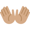 Open Hands: Medium Skin Tone on Twitter Twemoji 2.3