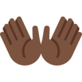 Open Hands: Dark Skin Tone on Twitter Twemoji 2.3