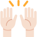 Raising Hands: Light Skin Tone on Twitter Twemoji 2.3