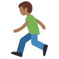 Person Running: Medium-Dark Skin Tone on Twitter Twemoji 2.3