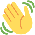 Waving Hand on Twitter Twemoji 2.3