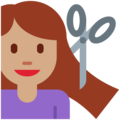Woman Getting Haircut: Medium Skin Tone on Twitter Twemoji 2.3