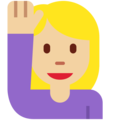 Woman Raising Hand: Medium-Light Skin Tone on Twitter Twemoji 2.3