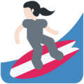 Woman Surfing: Light Skin Tone on Twitter Twemoji 2.3