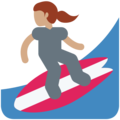Woman Surfing: Medium Skin Tone on Twitter Twemoji 2.3