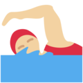Woman Swimming: Medium-Light Skin Tone on Twitter Twemoji 2.3