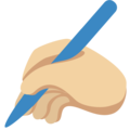 Writing Hand: Medium-Light Skin Tone on Twitter Twemoji 2.3