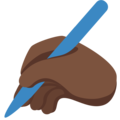 Writing Hand: Dark Skin Tone on Twitter Twemoji 2.3
