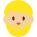 Bearded Person: Medium-Light Skin Tone on Twitter Twemoji 2.4