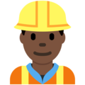 Construction Worker: Dark Skin Tone on Twitter Twemoji 2.4