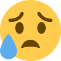 Sad but Relieved Face on Twitter Twemoji 2.4