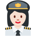 Woman Pilot: Light Skin Tone on Twitter Twemoji 2.4