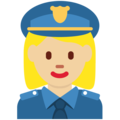 Woman Police Officer: Medium-Light Skin Tone on Twitter Twemoji 2.4