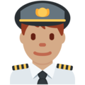 Man Pilot: Medium Skin Tone on Twitter Twemoji 2.4