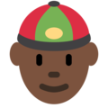 Man With Chinese Cap: Dark Skin Tone on Twitter Twemoji 2.4