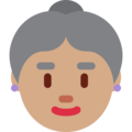 Old Woman: Medium Skin Tone on Twitter Twemoji 2.4