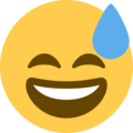 Grinning Face With Sweat on Twitter Twemoji 2.4