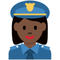 Woman Police Officer: Dark Skin Tone on Twitter Twemoji 2.5
