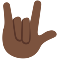 Love-You Gesture: Dark Skin Tone on Twitter Twemoji 2.5