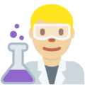 Man Scientist: Medium-Light Skin Tone on Twitter Twemoji 2.5