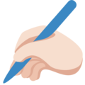 Writing Hand: Light Skin Tone on Twitter Twemoji 2.5