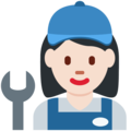 Woman Mechanic: Light Skin Tone on Twitter Twemoji 2.6