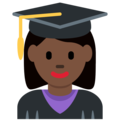 Woman Student: Dark Skin Tone on Twitter Twemoji 2.6