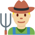 Man Farmer: Medium-Light Skin Tone on Twitter Twemoji 2.6