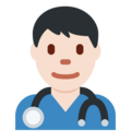 Man Health Worker: Light Skin Tone on Twitter Twemoji 2.6