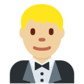Man in Tuxedo: Medium-Light Skin Tone on Twitter Twemoji 2.6