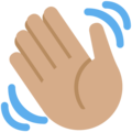 Waving Hand: Medium Skin Tone on Twitter Twemoji 2.6