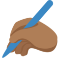 Writing Hand: Medium-Dark Skin Tone on Twitter Twemoji 2.6