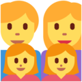 Family: Man, Woman, Girl, Girl on Twitter Twemoji 2.7