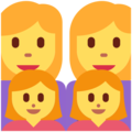 Family: Woman, Woman, Girl, Girl on Twitter Twemoji 2.7