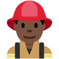 Man Firefighter: Dark Skin Tone on Twitter Twemoji 2.7