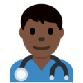 Man Health Worker: Dark Skin Tone on Twitter Twemoji 2.7