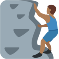 Man Climbing: Medium-Dark Skin Tone on Twitter Twemoji 2.7