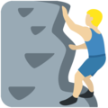 Man Climbing: Medium-Light Skin Tone on Twitter Twemoji 2.7