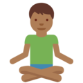 Man in Lotus Position: Medium-Dark Skin Tone on Twitter Twemoji 2.7