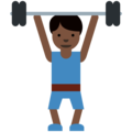 Man Lifting Weights: Dark Skin Tone on Twitter Twemoji 2.7