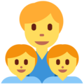 Family: Man, Boy, Boy on Twitter Twemoji 11.0