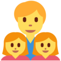 Family: Man, Girl, Girl on Twitter Twemoji 11.0