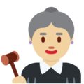Woman Judge: Medium-Light Skin Tone on Twitter Twemoji 11.0