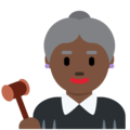 Woman Judge: Dark Skin Tone on Twitter Twemoji 11.0